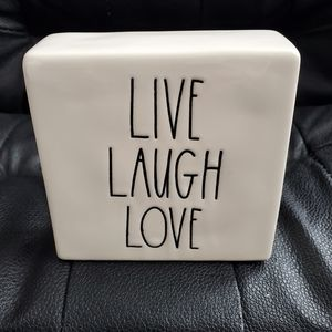 Rae Dunn Live Laugh Love Paperweight / Decor